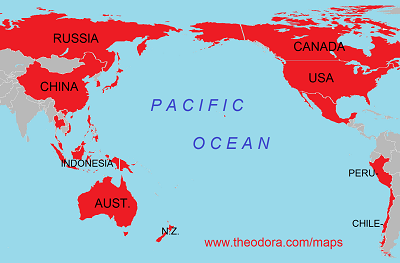 Map of APEC Asia Pacific Economic Cooperation member countries
