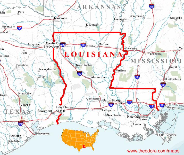 Geographic Map Of Louisiana.Louisiana Maps