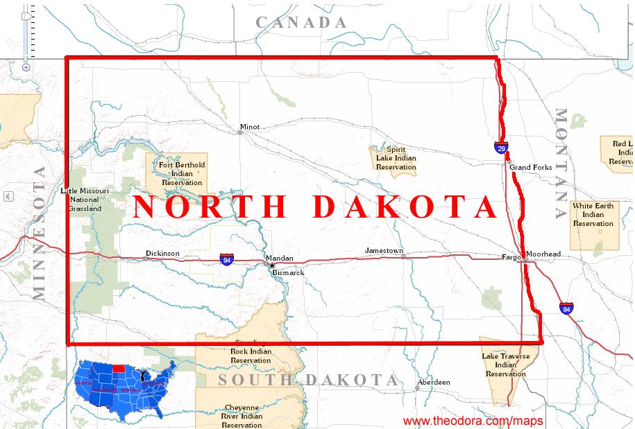 Us Map With North Dakota