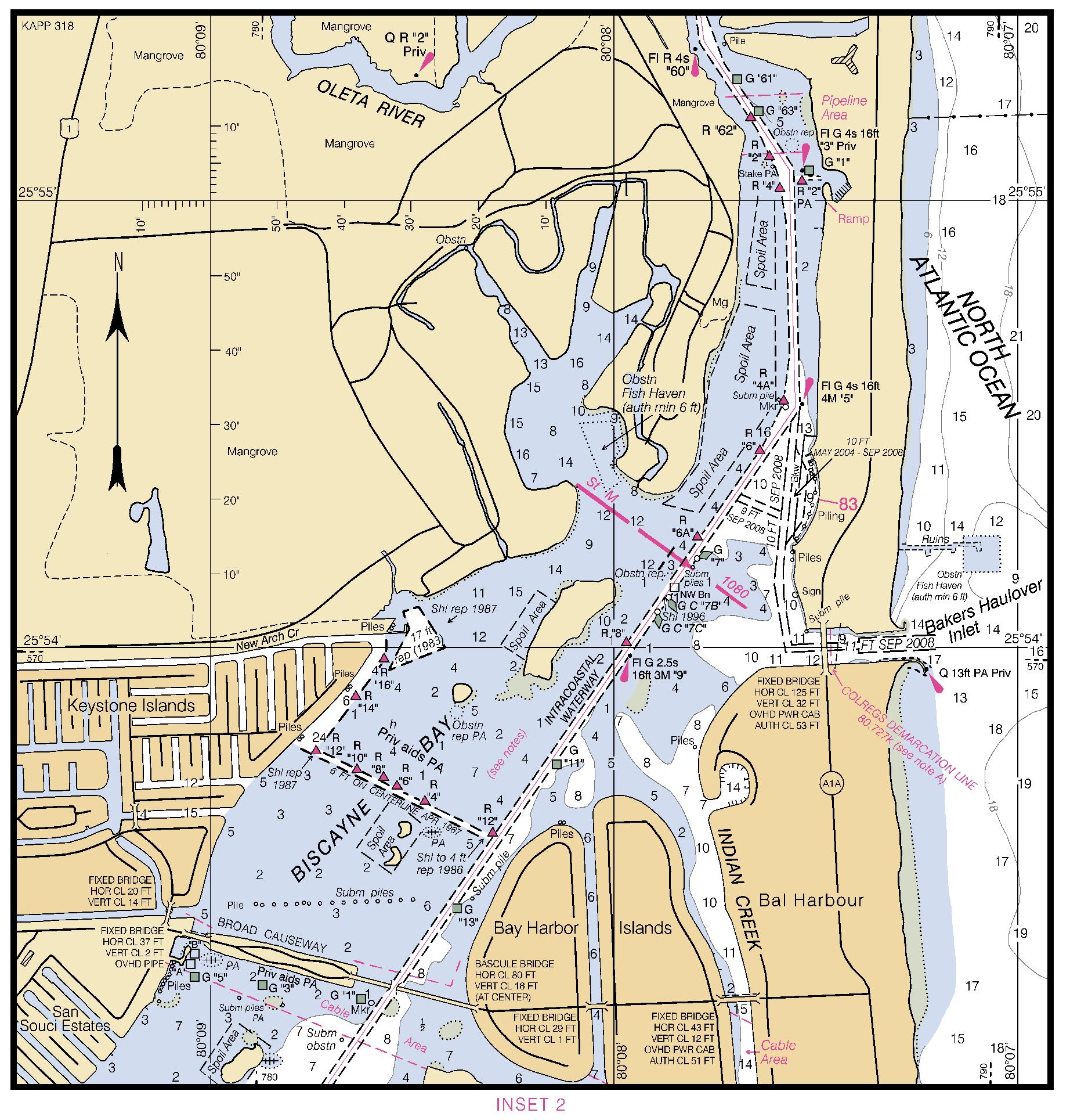INTRACOASTAL WATERWAY - BISCAYNE BAY nautical chart - ΝΟΑΑ Charts - maps
