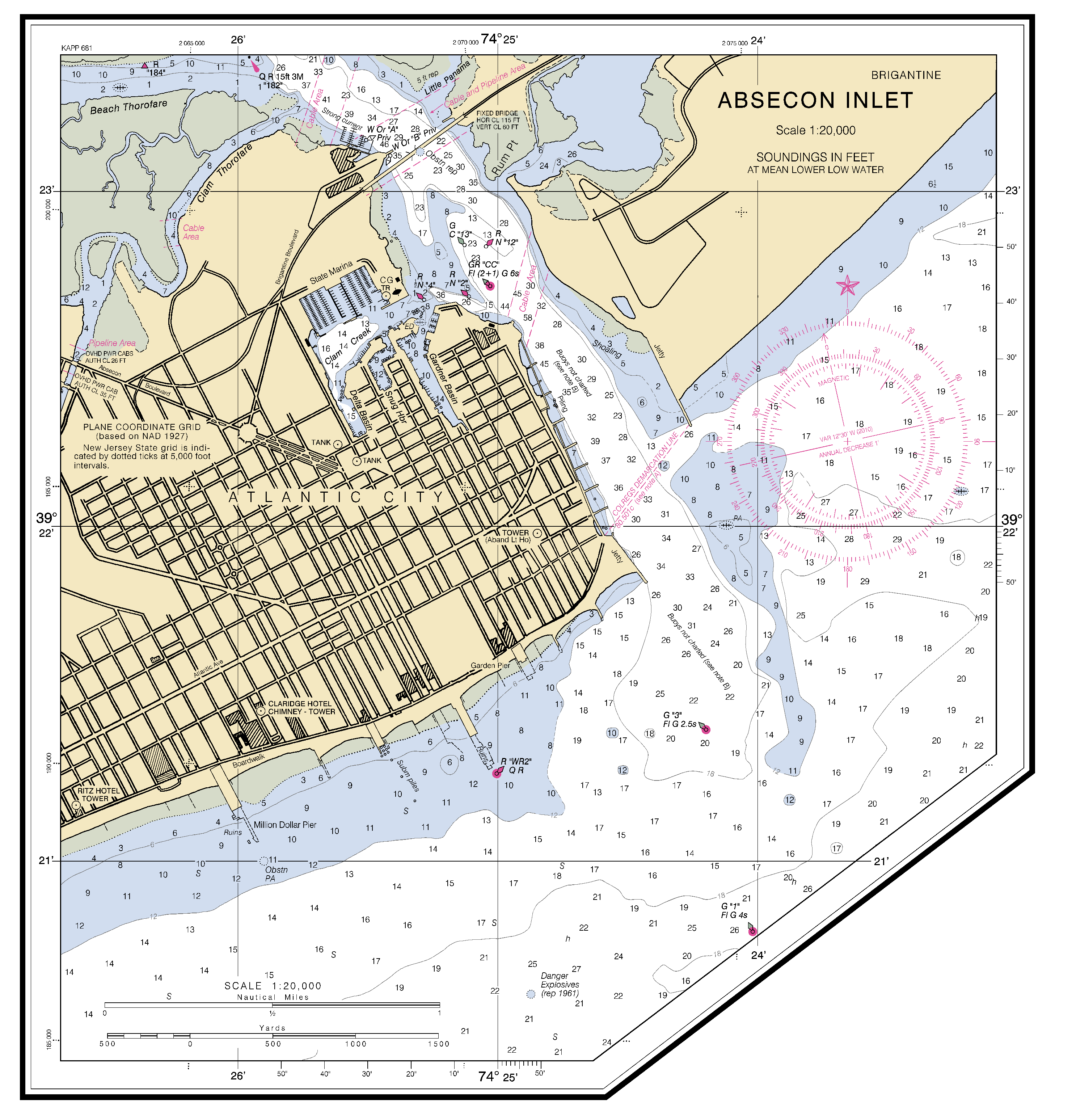 Absecon inlet nautical chart charts maps click on the map to download full size nvjuhfo Choice Image