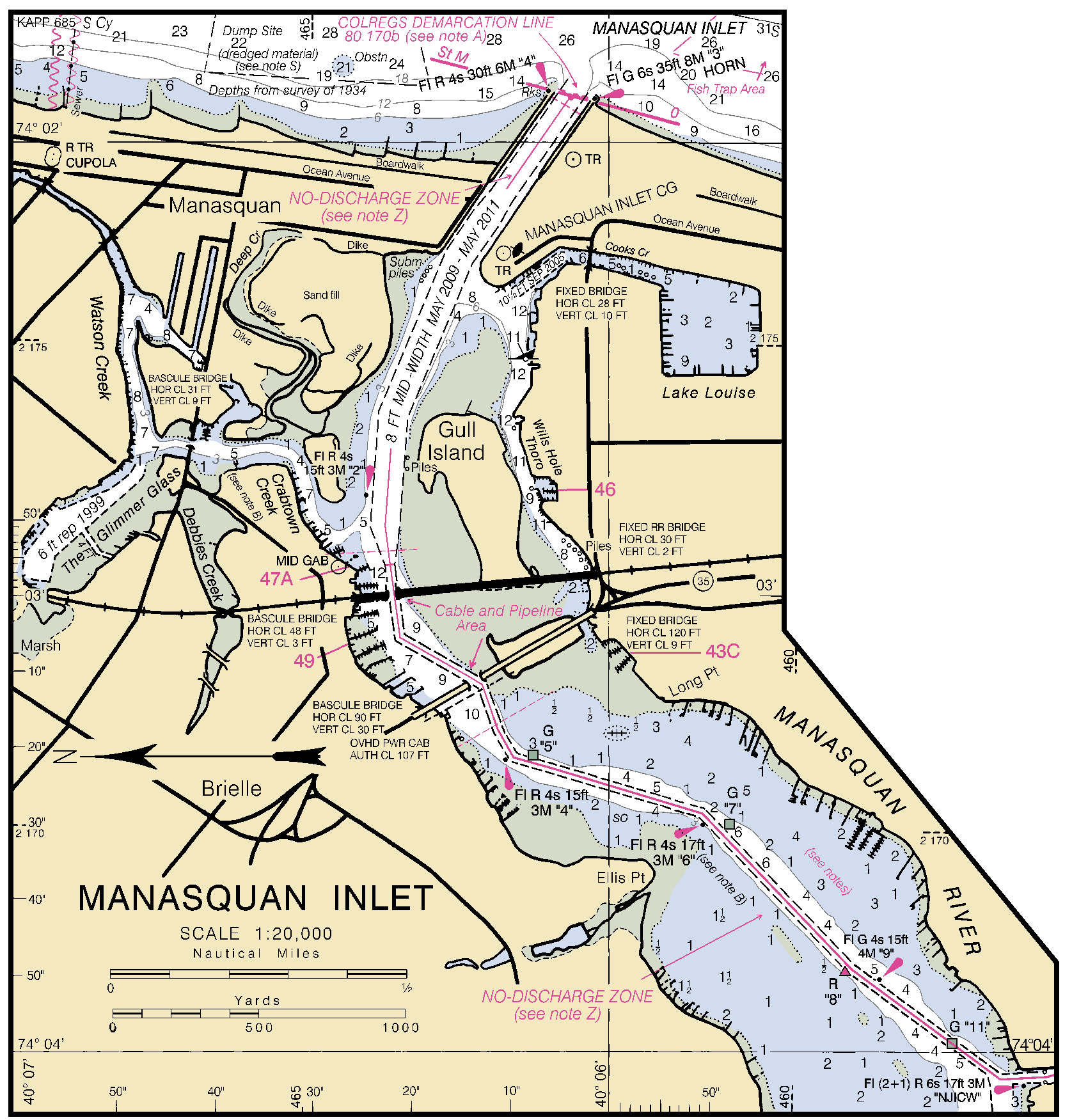 Manasquan inlet nautical chart charts maps click on the map to download full size nvjuhfo Image collections