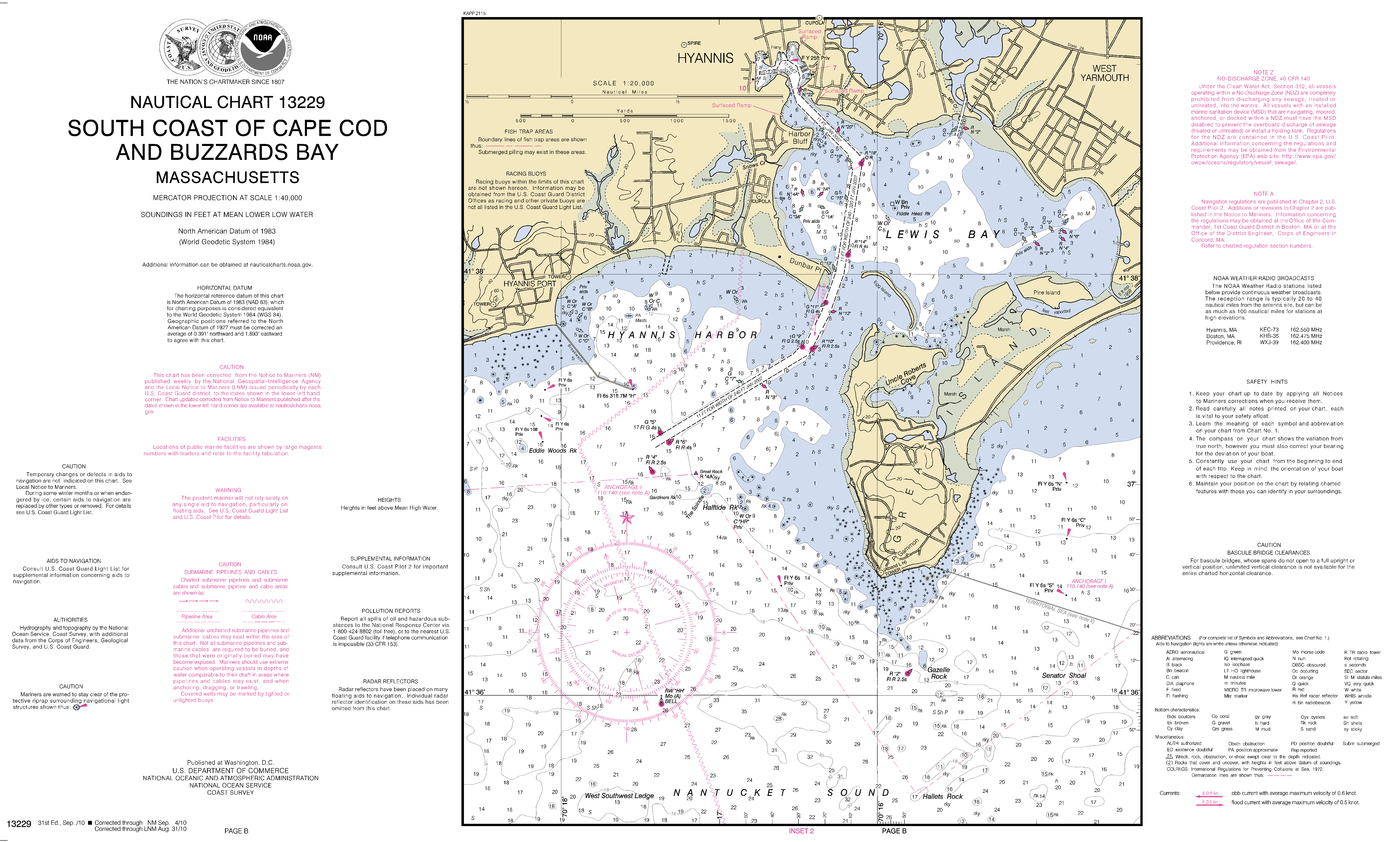Lewis Bay Hyannis Harbor Ma Inset 2 Nautical Chart