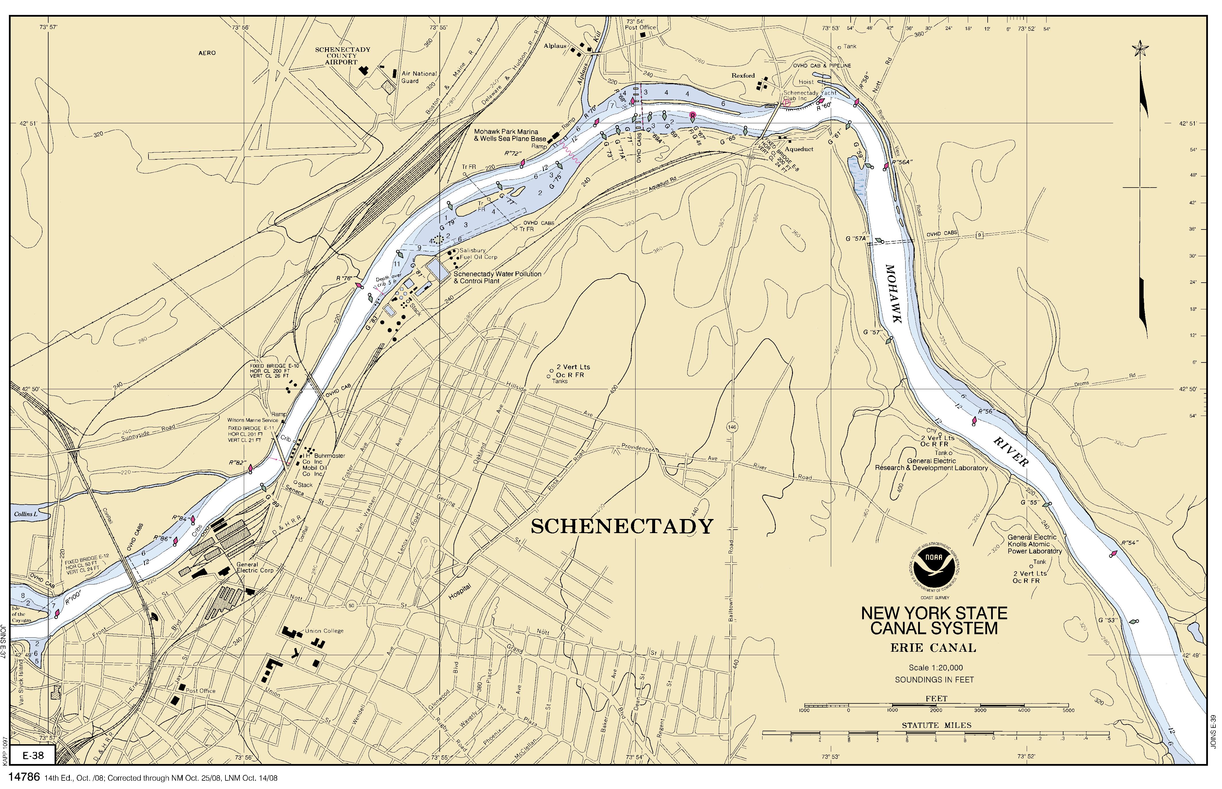Mohawk River Map MOHAWK RIVER   SCHENECTADY nautical chart   ΝΟΑΑ Charts   maps Mohawk River Map
