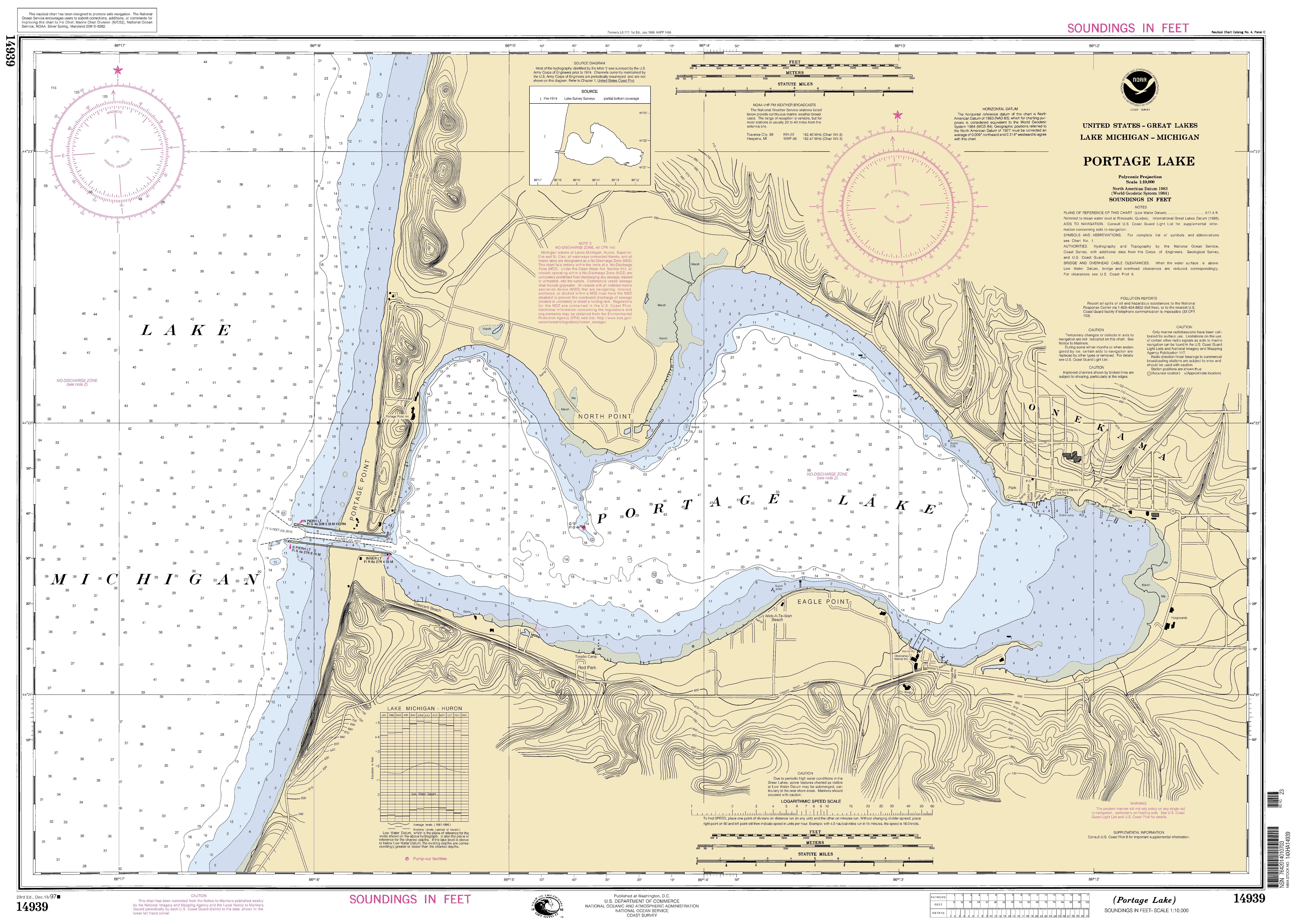 Portage Lake Michigan Map.Portage Lake Michigan Nautical Chart Noaa Charts Maps