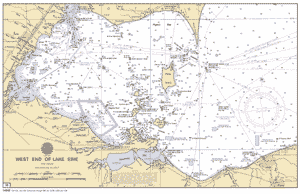 western lake erie map West End Of Lake Erie 38 Nautical Chart Noaa Charts Maps western lake erie map