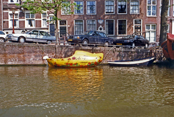 Wooden Shoe-Shaped Boat on an Amsterdam